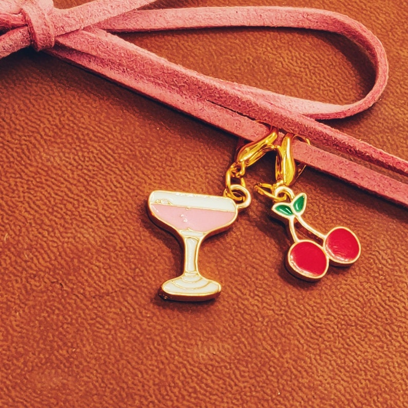 Cocktail and Cherries Clip-on Charm Duo Planner charms Junk Journal Gift Stitch markers Bag charms