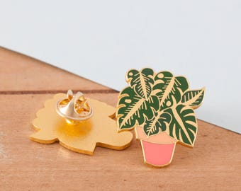 Monstera Enamel Pin   Plant Lapel Pin   Hard Enamel Pin   Gold Enamel Pin Badge   Cheeseplant Pin   Monstera Deliciosa Plant   Plant Pin