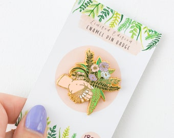 0220eb1f900 Flower Bunch and Hand Enamel Pin | Lapel Pin | Hard Enamel Pin | Gold Enamel  Pin Badge | Flowers Pin | Bunch Of Flowers Enamel Pin Badge