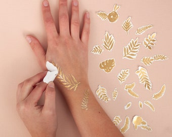 Gold Foil Botanical Temporary Tattoos | Flower Bee Leaf Temporary Tattoo Set | Metallic Temporary Tattoos | Gold Bee And Leaf Tattoo Pack