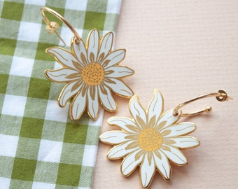 Daisy Hard Enamel Gold Hoop Earrings | Floral Earrings | Gold Hoop Daisy Earrings | Little Paisley Designs