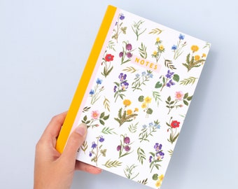 Wildflower Pattern Journal Notebook | A5 100 Page Journal | Flower Print |  Dotted Notebook | Bullet Journal | Little Paisley Designs