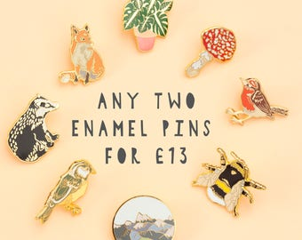 Any 2 Enamel Pins Deal | Pin Badge | Hard Enamel Pin | Gold Enamel Pin | Wildlife | Nature Pin | Lapel Pin | Plant Pin | Wildlife Pin