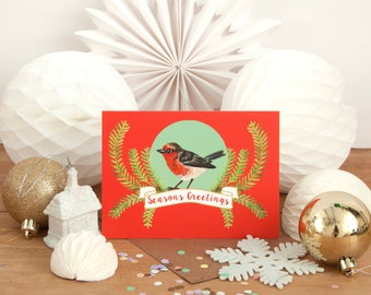 Robin Christmas Cards | Pack of 4 Cards | Season's Greetings | Nature Illustration | British Bird | Festive Robin | Christmas Card Pack