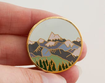 Mountains Enamel Pin | Pin Badge | Hard Enamel Pin | Gold Enamel Lapel pin | Mountain Pin | Alpine Mountain Scene | Wilderness Explorer Pin