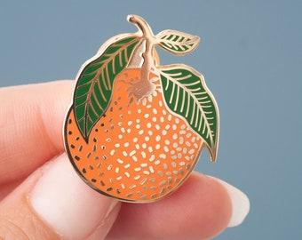 Clementine Enamel Pin | Lapel Pin | Hard Enamel Pin | Gold Enamel Pin Badge | Citrus Pin | Orange Leaf Pin | Little Paisley Designs