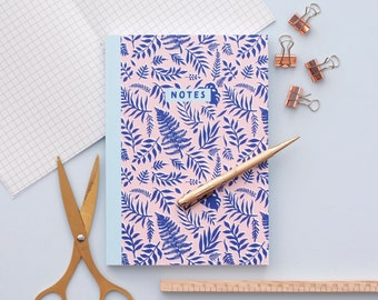 Blue Leaf Pattern Journal Notebook | A5 100 Page Journal | Thick Journal |  Dotted Notebook | Bullet Journal | Little Paisley Designs