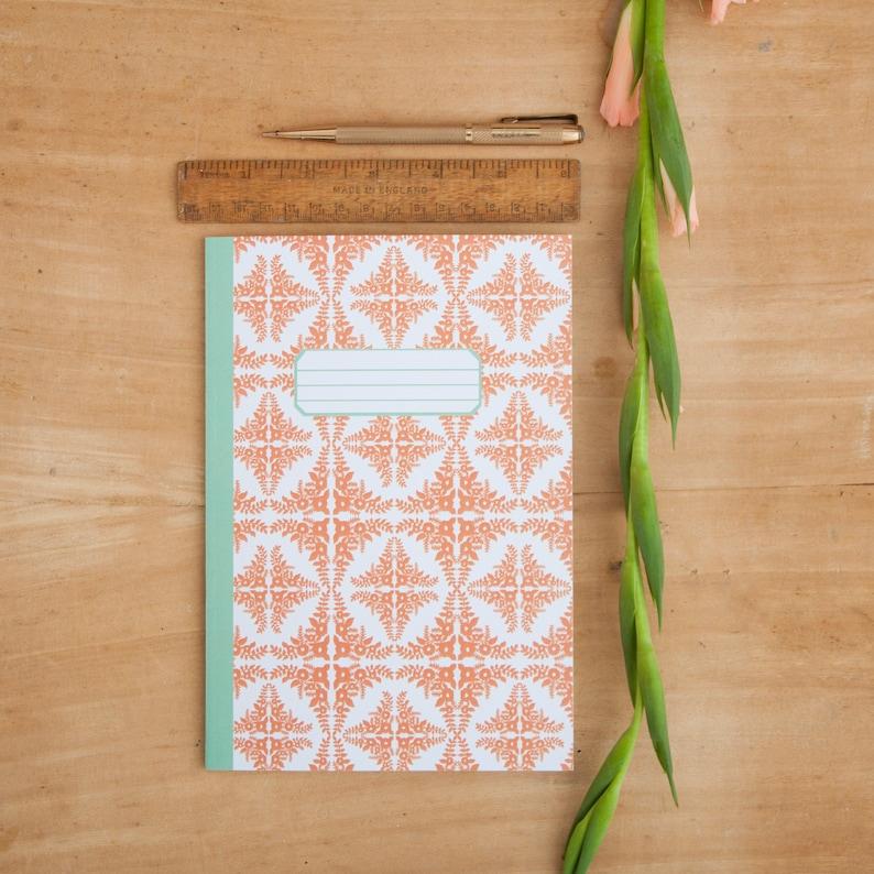 Floral Tile Print Notebook Illustrated A5 Notebook Journal Notepad Orange Tile Pattern Notebook Retro Pattern Bullet Journal