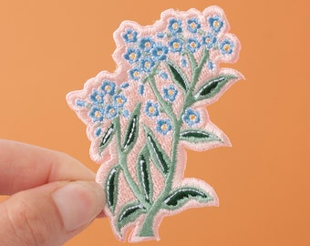 Forget Me Not Flower Embroidered Iron-on Patch | Wildflower Patch | Flower Embroidered Patch | Iron-On Patch | Little Paisley Designs