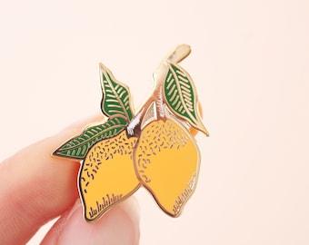 Lemons Enamel Pin | Lapel Pin | Hard Enamel Pin | Gold Enamel Pin Badge | Citrus Pin | Lemon Leaf Pin | Little Paisley Designs