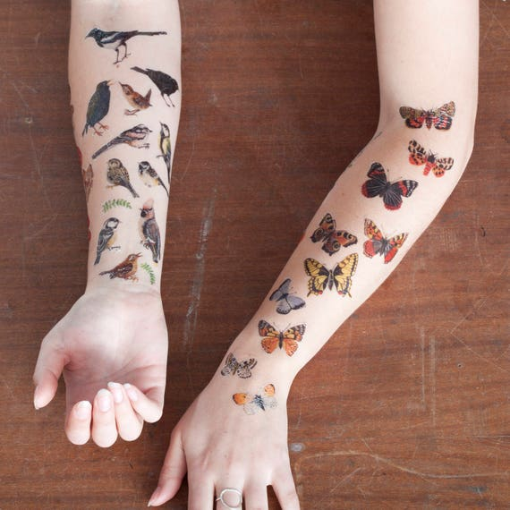 67ab85fa4 Butterfly & Moth Temporary Tattoos Temporary Tattoo Set | Etsy