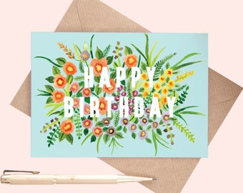 Floral Happy Birthday Card | Flower Illustrated Greeting Card | Greeting Card | Birthday Card | Birthday | Wildflower Print Greeting Card