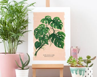 Monstera Illustrated Print | Digital Print | Limited Edition | Monstera Leaf | Tropical Plant Print | Houseplant Print | A4 | Cheeseplant