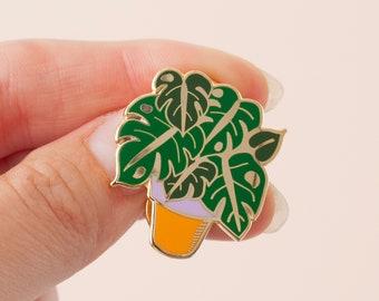 Monstera Enamel Pin | Plant Lapel Pin | Hard Enamel Pin | Gold Enamel Pin Badge | Cheeseplant Pin | Monstera Deliciosa Plant | Plant Pin