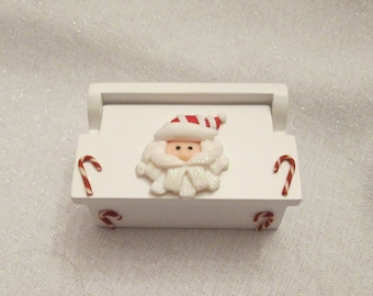 Santa and Candy Cane dollhouse miniature chest