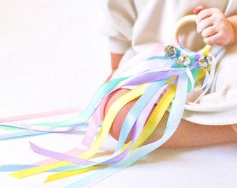 Waldorf Hand Kite Girl Toys, Wooden Montessori Musical Instrument Toy for Girl, Bell Ribbon Dancer, Wood Girl Birthday Gift Idea, Niece Gift