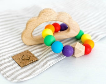 Rainbow Baby Shower Gift, Wood Baby Toy, Wooden Silicone Toy, New Baby Gift Basket, Niece or Granddaughter Gift, Stocking Stuffers for baby