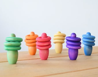 Rainbow Stacker Open Ended Toys, Rainbow Stacking Toys, Toddler Activities for Montessori Preschool, Autism Toys, Toddler Christmas Stocking