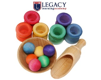 Handmade Montessori Toy for Kids, Wooden Toys, Waldorf Ball & Pot Sorting Set, Wood Toys for Toddler Loose Parts Christmas Stocking Stuffers