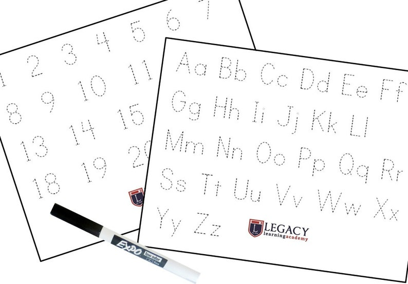 Abc Number Tracing Worksheets Preschool Learning Game Etsy