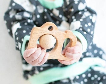 Wooden Camera Toy, Baby Toys 6 Months, Wooden Toy for Baby,  All Natural Wood Camera, Gender Neutral Baby Gift, 1st first birthday present