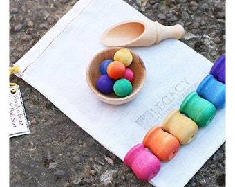 Montessori Wooden Toy for Toddler, Montessori Materials for Toddler Learning, Montessori Ball & Pot Color Sorting Travel Toy Gift Sale
