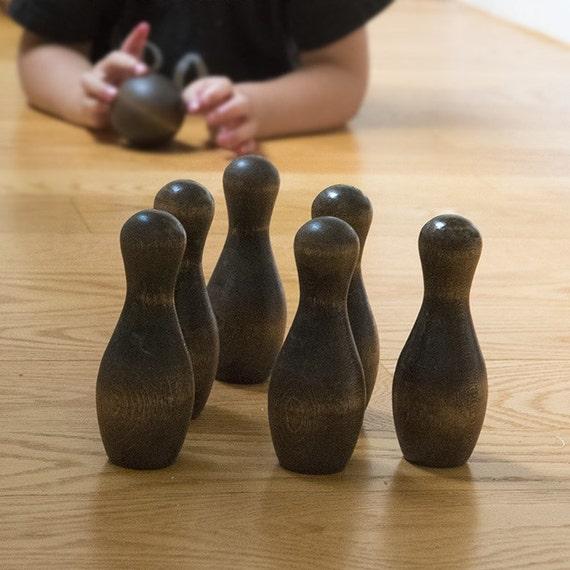 Jeu de quilles en bois petit, compétence table de jeu, tout naturel des jouets en bois