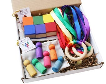 Montessori Toddler Toy Gift Idea, Rainbow Wooden Toys for Toddler, Montessori Gift Idea for 3 Year Old & 2 Year Old Birthday Party Present
