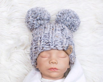 3796c07a574b6 Baby bear hat, winter baby hat, Newborn hat, Knitted Baby Hat, Double pom  pom hat, Baby Shower Gift, gender neutral baby hat