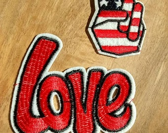 Set of 2 red embroidery