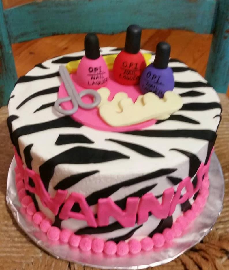 Make Up Nail Polish Fondant Spa Cake Topper Set