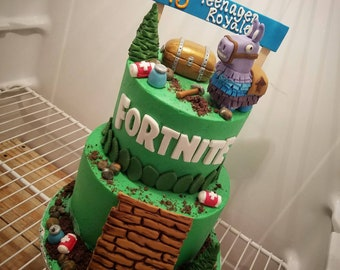 Handmade Fondant Fortnite Inspired Cake Topper Set