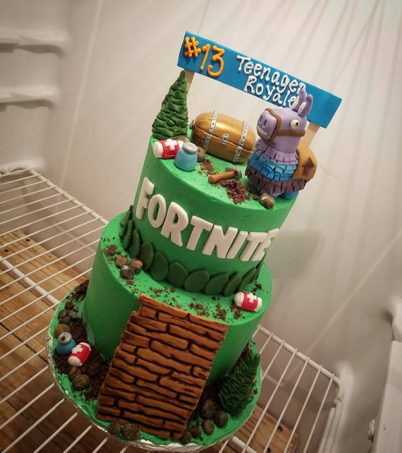 Handmade Fondant Fortnite Inspired Cake Topper Set Etsy