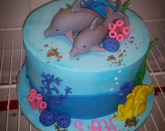 Dolphin Under the Sea Fondant Cake Topper Set