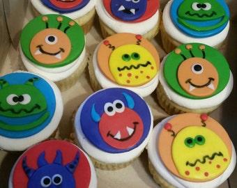 Handmade Edible Fondant Monster Cupcake Toppers