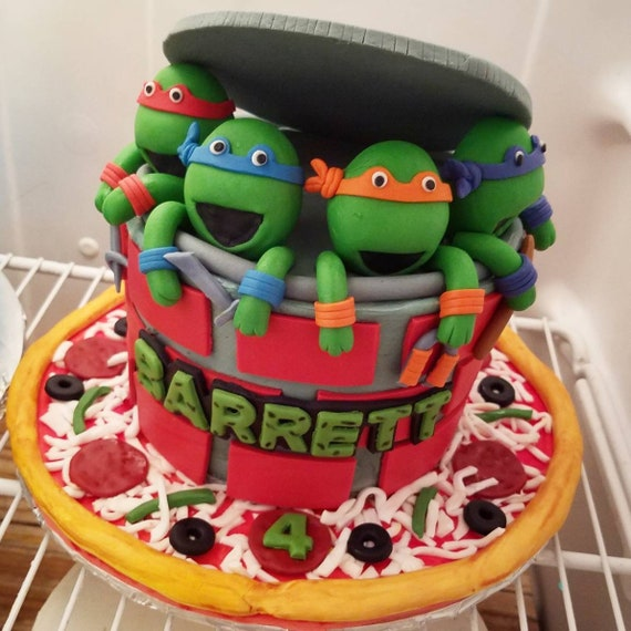 Astonishing Teenage Mutant Ninja Turtles Inspired Cake Topper And Pizza Etsy Personalised Birthday Cards Petedlily Jamesorg