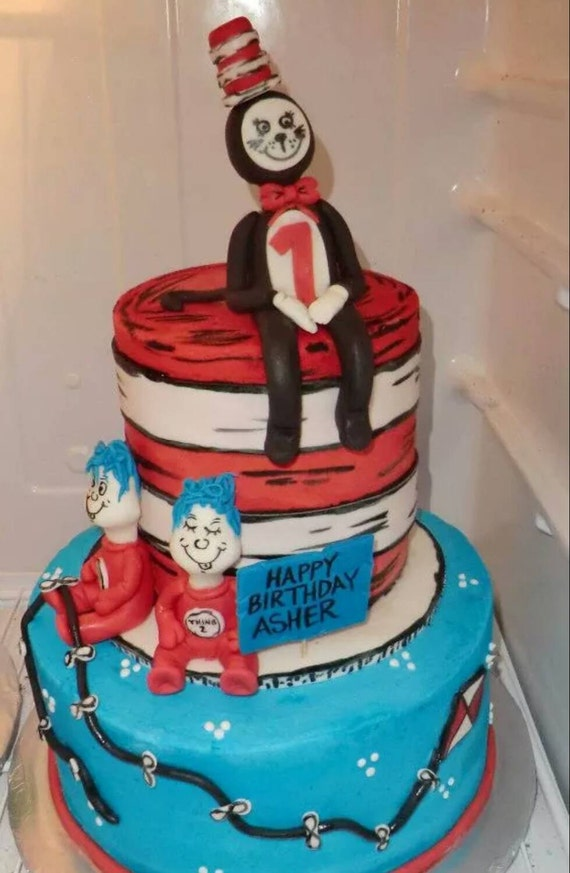 Handmade Fondant Cat In The Hat Thing 1 And 2 Cake Topper Set Etsy