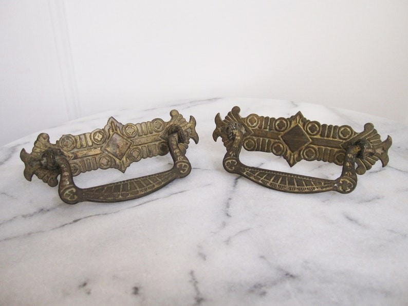 Vintage Pair Two 2 Brass Bail Pulls 1940s