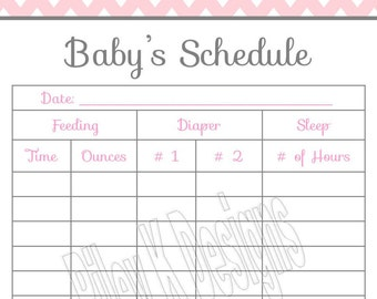 baby schedule chart baby feeding chart diaper changing etsy. Black Bedroom Furniture Sets. Home Design Ideas