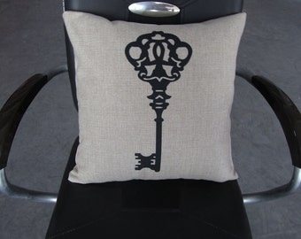 KEY pillow cover on Canvas/Burlap
