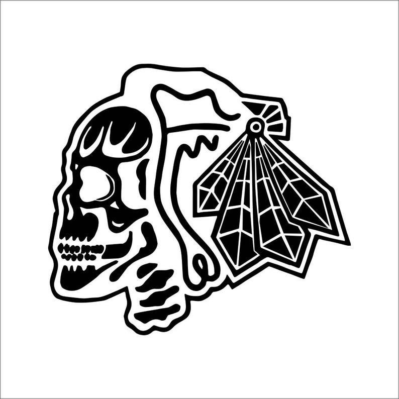 new arrival 4e0af d5657 Blackhawks Skull Vinyl Decal / Sticker 2(TWO) Pack