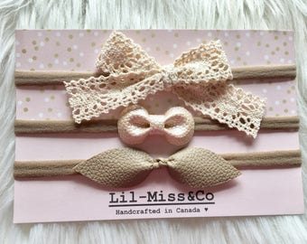 Set of 3 Baby Headband/ Newborn Headband/ Baby Pink Headband/ Nylon Headband/ Leather Headband/ Baby Bow/ Chic Baby Bow/ Baby Hair Bow/ Baby