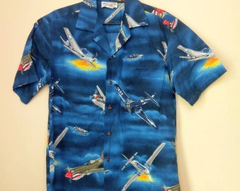 f35a38faf6a Vintage Hawaiian WWII Planes Button Shirt Medium