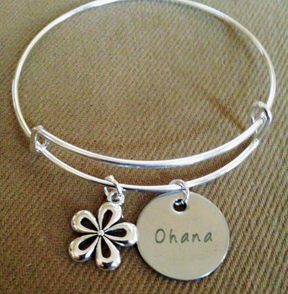 Bracelet A Breloques Ohana Hibiscus Fleur Hawaii Vacances Etsy