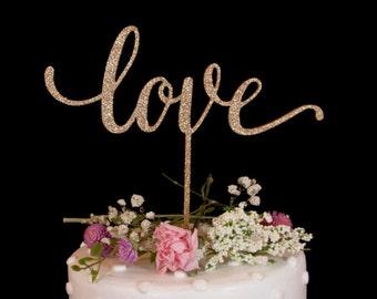 Love Wedding Cake Topper- Glitter Gold