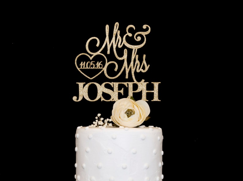 Custom Wedding Cake Topper With Date image 0