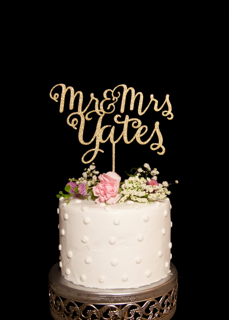 Custom Calligraphy Mr and Mrs Wedding Cake Topper-Gold image 0