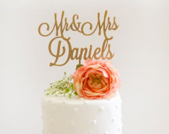 Custom Mr and Mrs Wedding Cake Topper- Glitter Gold