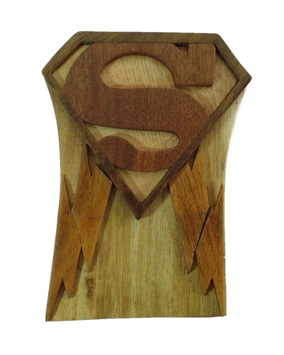 Superman Caja Del Rompecabezas Joyeria Regalo Tarjeta Etsy