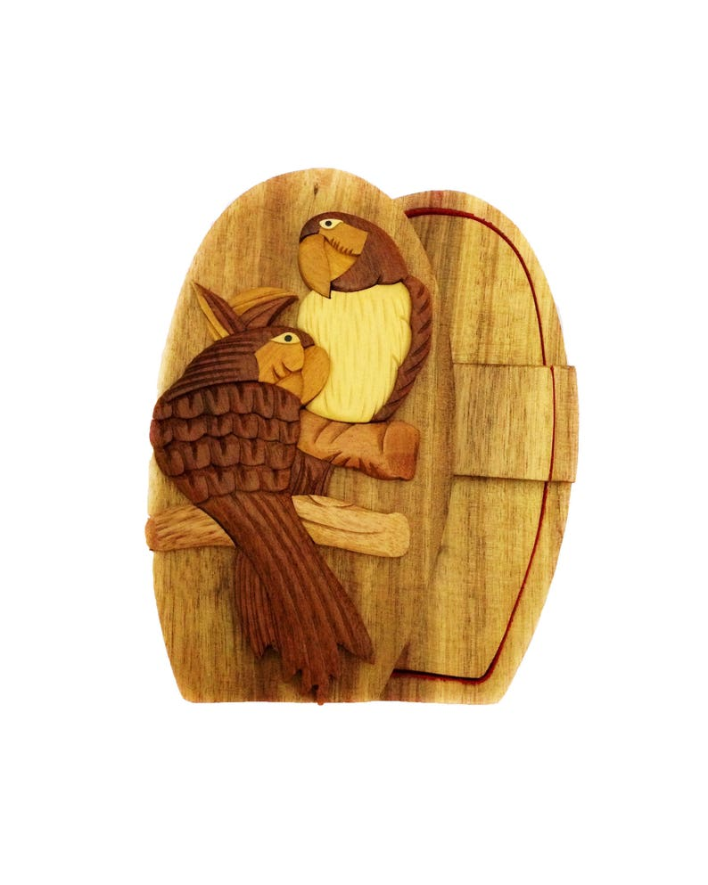 Two Parrot Love Bird Puzzle Box Jewelry Cash Gift Card Holder Hand Carved Natural Wood No Paints Or Stains